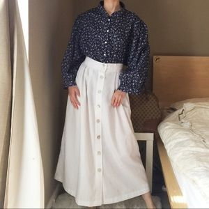 Vintage Button Down White Skirt By Counterparts